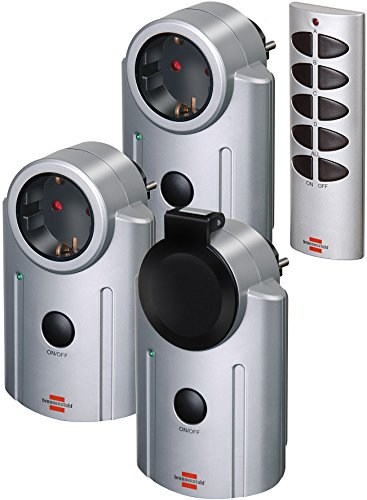 Brennenstuhl Primera-Line Funkschalt-Set RC 2044, 3er Funksteckdosen Set (mit Handsender, IP20/IP44 Schutz und erhöhter Berührungsschutz), Grau, 1507670